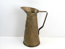 Vintage Brass Elpec Pitcher Embossed Colonial Scene Made In England c1960