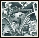 4.25' M.C. Escher Relativity vinyl sticker. Surrealist art decal for car, laptop