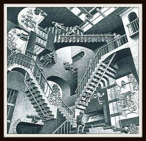 "4.25"" M.C. Escher Relativity vinyl sticker. Surrealist art decal for car, laptop"