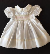 Vintage Baby Girls Smocked Dress Handmade Christening Wedding Dolls White Pastel