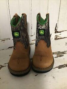 John Deere Leather Canvas Camo Western Cowboy Boots Boys Infant Size 5.5 M