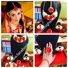 Indian Bridal Ladies Sangeet Flower Necklace, Earrings, Fingerring And Tikka Set