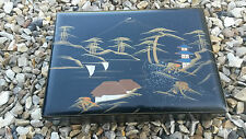 VINTAGE 'DAYSUN' JAPANESE BLACK LACQUERED JEWELLERY MUSICAL BOX, WORKING
