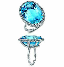 25ct Blue Oval Cocktail Ring Solitaire Stunning Party Jewelry White Engagement