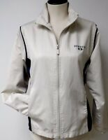 BOWDOIN COLLEGE TAN & BLUE NYLON SPORT CASUAL JACKET FULL ZIP FRONT WOMENS SZ S