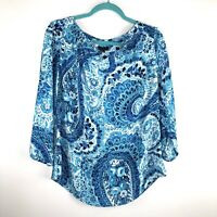 Talbots Womens Shirt Blouse Blue White Paisley Floral Shirt V neck 3/4 Sleeve