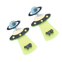 Novelty UFO Design Women Boho Dangle Drop Ear Stud Acrylic Earrings Jewelry,