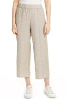 Eileen Fisher Khaki Organic Linen Wide Cropped Pants Women's Size XS 83802
