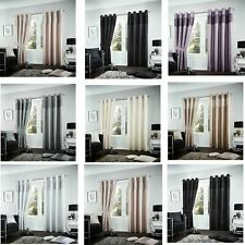 Pair Of Fuel Luxurious Curtains Ready Made Eyelet Ring Top Lined + Tie Backs