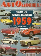AUTOMOBILIA HS 21 TOUTES LES VOITURES FRANCAISES 1959 (SALON 1958)