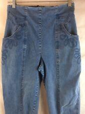 "Denim Stretch Jeans Back Zipper Straight Legs Pocket Detail Waist 28"" Wei Sing"