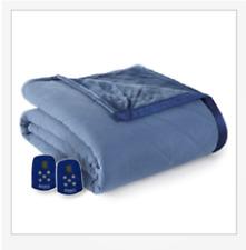 Micro Flannel Shavel Ultra Velvet Reversible Electric Blanket King - Indigo Blue