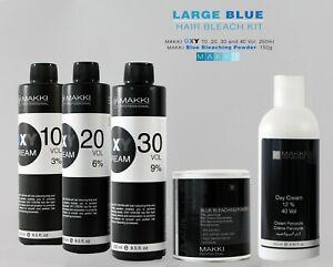 MAKKI LARGE HAIR BLEACHING KIT BLEACH POWDER + OXY CREAM HYDROGEN PEROXIDE