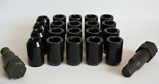 16X M12X1.5 BLACK TUNER WHEEL NUTS & LOCKING FIT OPEL ANTAR SINTRA ASTRA J