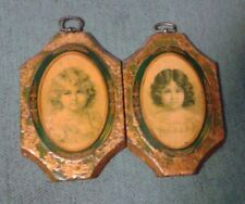 PAIR OF GILT GOLD PORTRAITS TWO YOUNG GIRLS FACES