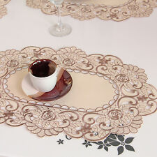 Yazi Beige Embroidered Flower Placemat Hollow Satin Fabric Doily Party Decor Mat 4pcs