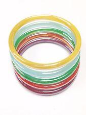 Set of 5 Assorted Colorful Glass Bangle Bracelet Vintage Jewelry