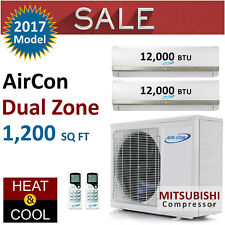 24000 BTU Dual Zone Ductless Mini Split Air Conditioner Heat Pump 12K 12K New