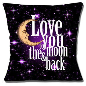"'Love You To The Moon & Back' 16""x16"" 40cm Cushion Cover Black Purple White"