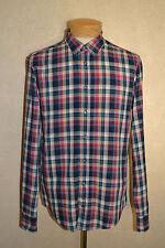 "$155 Boss Orange ""Cliff"" M Casual Plaid Cotton Shirt w/Floral Contrast Cuff/Plkt"