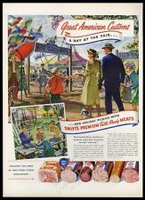 1950 Swift's Premium ham salami meats carnival fair family art vintage print ad