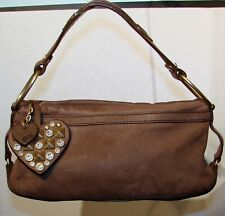 Authentic Juicy Couture Brown Nubuck Leather Small Handbag Purse