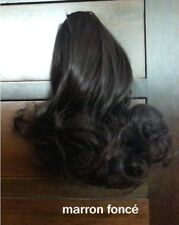 Extension de cheveux marron FONCé bouclé court 26cm Queue De Cheval Pince NEUF