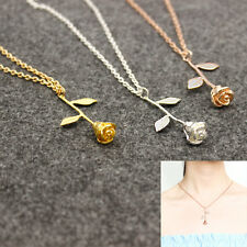 Delicate Rose Flower Pendant Necklace Beauty Rose Gold Silver Charm Jewelry C