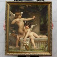 "Old Master-Art Antique Oil Painting Portrait nude girl cupid on canvas 30""x40"""