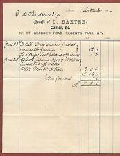C.Baxter, 37, St.George's Road, Regent's Park, London, Vicuna coat, bill,   zf41