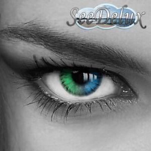 *Rainbow* Farbige Jahres Kontaktlinsen mit STÄRKE - Blau - Grün - Grau -
