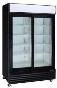 42cf Commercial 2-Glass Door Refrigerator Display Cooler Merchandiser (Sliding)