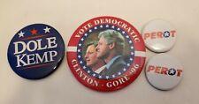 Clinton Gore 1996 Campaign Button Large Political Perot Dole Kemp