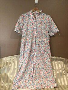 Vtg Nancy Frock House Dress Size 16 Blue And Pink Tulips