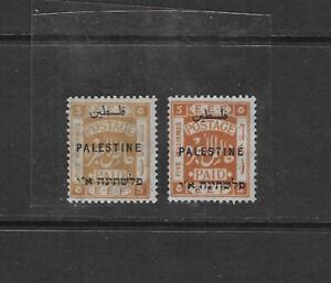 PALESTINE 1922 5 MILS SECOND LONDON OVPT IN YELLOW OCHRE PLUS ORANGE NORMAL BOTH