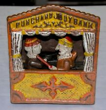 ANTIQUE VINTAGE 'PUNCH AND JUDY' CAST IRON MECHANICAL COIN BANK