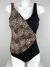 11b22ac9da5da Roxanne Womens Faux Wrap 1 pc Bra Sized Swimsuit Sz 14 34C Animal Print