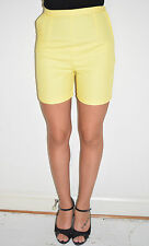 "Vintage 50's 60's Pin Up Yellow Body Con Shorts - Side Metal Zipper - 25 1/2"" W"