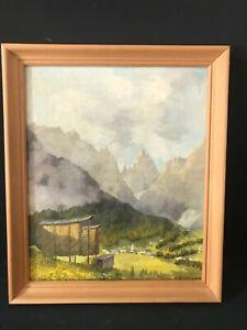 "+ Dorf in Südtirol, Dolomiten, sign. ""H. PLATTNER"", schönes Ölgemälde"