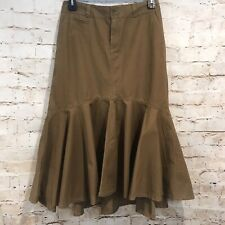 Sundance Boho Ruffle Maxi Skirt Womens Size 8 Cotton Tan Brown M19