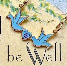 Sarah coventry Vintage Necklace Guilloche Blue Bird Enamel Rose Girl NOS #1181C