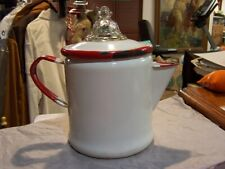 Vintage Porcelain Enamel Coffee Pot White Red Handle w/Pyrex Glass Lid