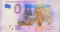 BILLET 0  EURO POPE JEAN PLAUL II 100th B COULEUR  ITALIE   2019  NUMERO DIVERS