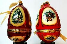 Christmas Tree Porcelain Musical Egg Ornaments ( Christmas Music ) 2 Piece