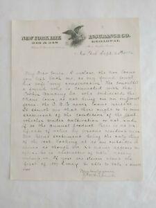 1886 Handwritten Correspondence Letter New York Life Insurance Letterhead #14800