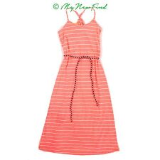 W Girl Nordstrom Maxi Dress 7/8 Racerback Striped Rope Belt Neon Orange New B48