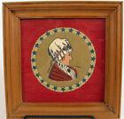 VINTAGE FRAMED MARTHA WASHINGTON FIRST LADY EMBROIDERY ART FRAMED PATRIOTIC !!