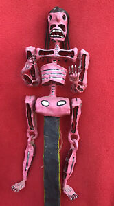 Eusebio Pascual Mexican Folk Art Alambriode Day Of Dead Pink Skeleton Puppet