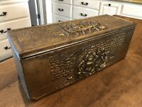 Vintage PEERAGE England Embossed Brass Humidor Hinged Lid Wood Box Pub Scene