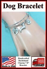 Dachshund, Best Friend and Love My Dog Charms Expendable Bangle Bracelet.